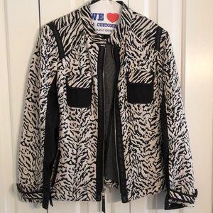 Chicos size 2 black white animal print jacket